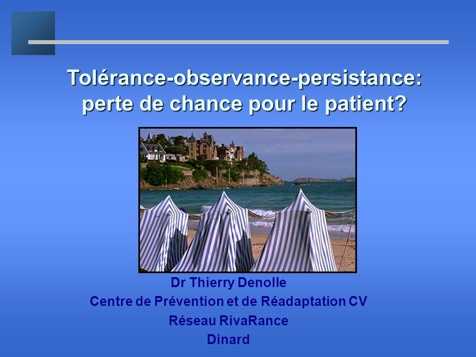 Tolérance-observance-persistance: perte de chance pour le patient? Dr Thierry Denolle Centre de Prévention et de Réadaptation CV Réseau RivaRance Dina