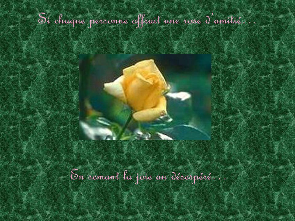 Si chaque personne offrait une rose damitié… En respectant le marginal…