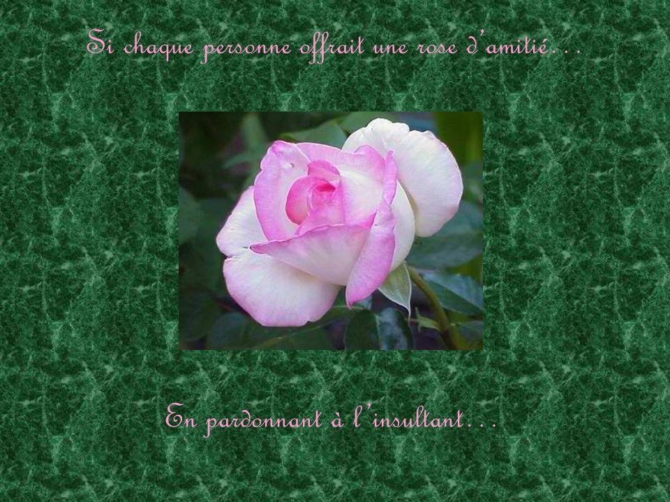 Si chaque personne offrait une rose damitié… En semant la joie au désespéré…