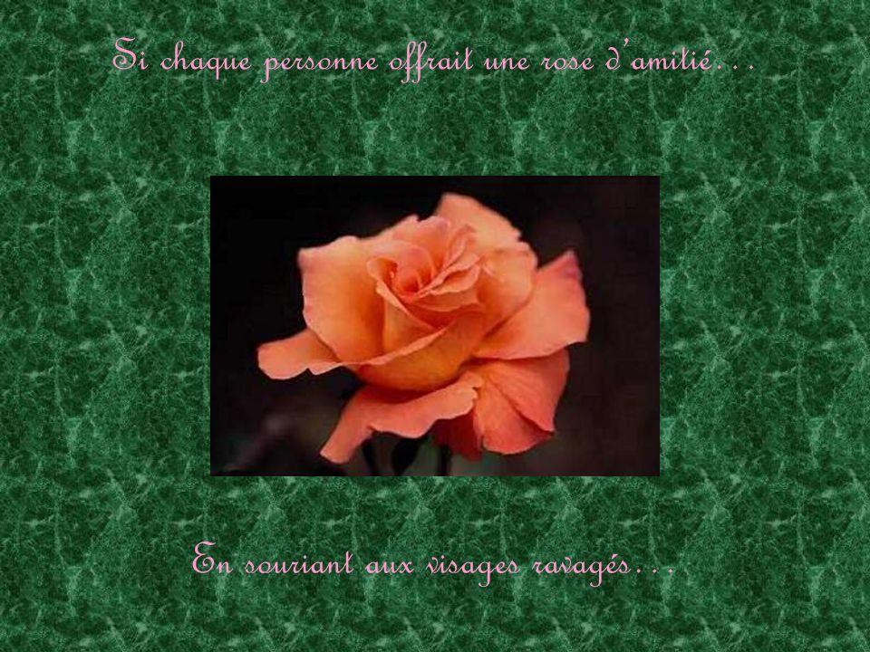 Si chaque personne offrait une rose damitié… En souriant aux visages ravagés…