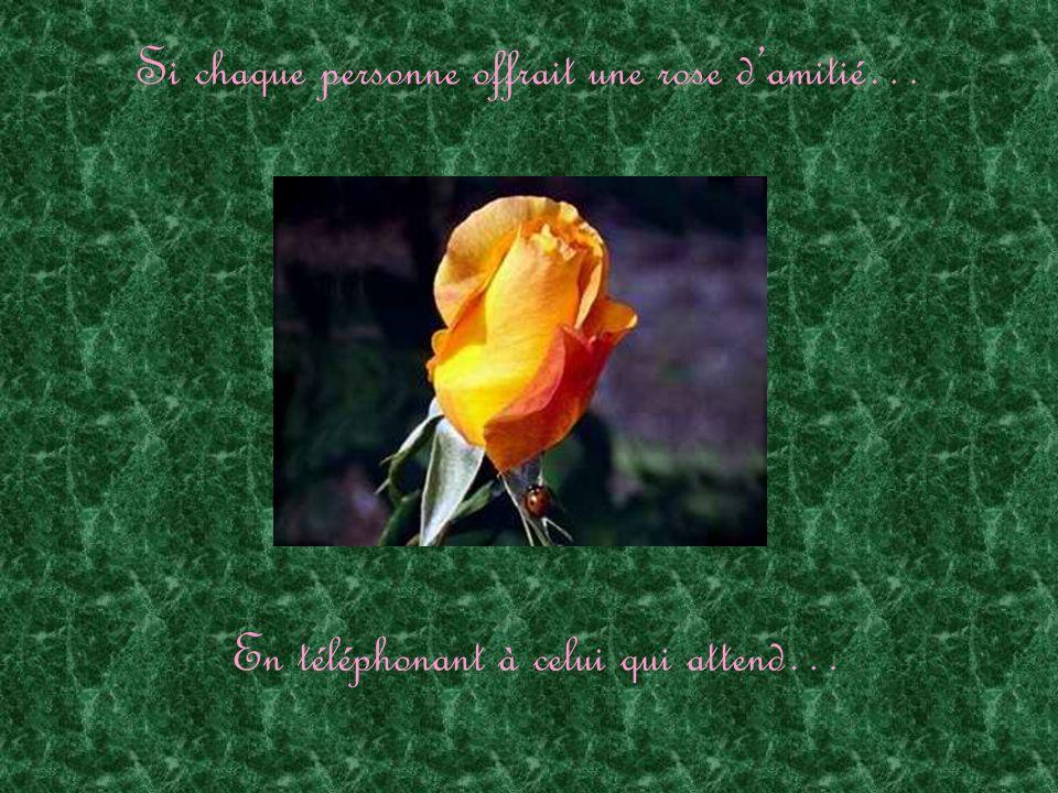 Si chaque personne offrait une rose damitié… En téléphonant à celui qui attend…