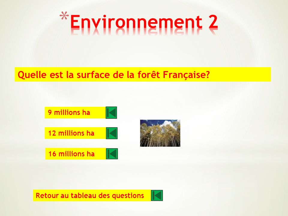 Dans le monde, quelle surface est détruite chaque année par des incendies? 150 millions ha 350 millions ha 550 millions ha Retour au tableau des quest