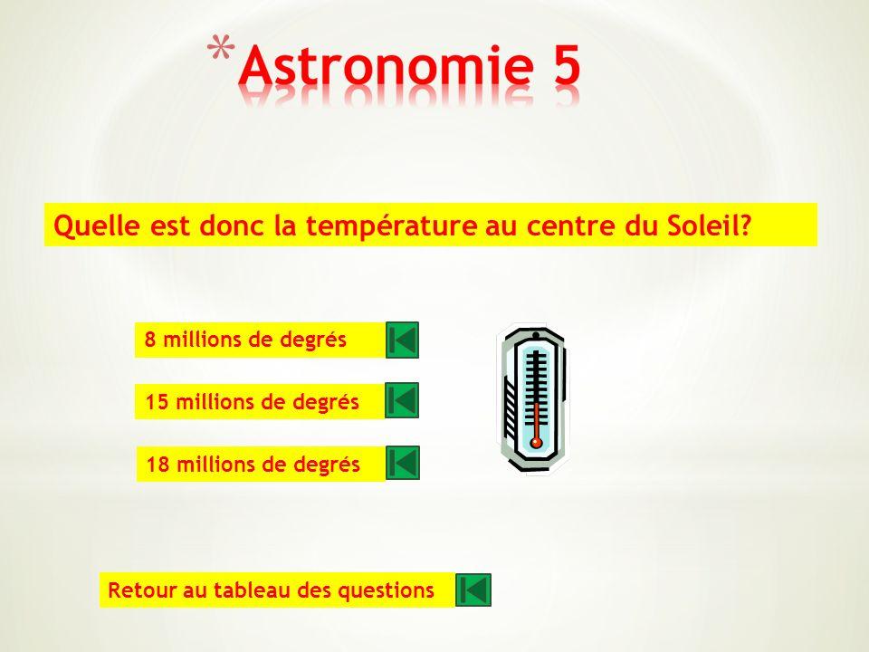 Quelle quantité dhydrogène le Soleil brûle t-il chaque seconde? 400 millions de tonnes 700 millions de tonnes 900 millions de tonnes Retour au tableau