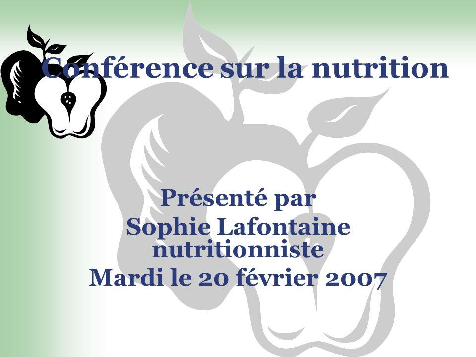 Conférence sur la nutrition Présenté par Sophie Lafontaine nutritionniste Mardi le 20 février 2007
