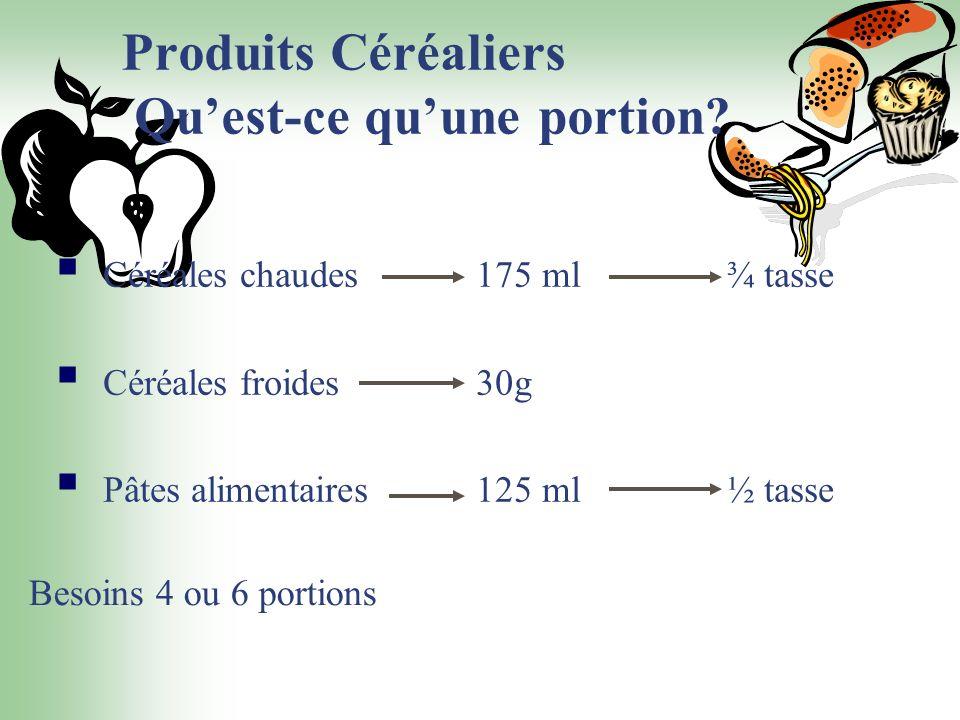 Produits Céréaliers Quest-ce quune portion? Céréales chaudes 175 ml¾ tasse Céréales froides 30g Pâtes alimentaires 125 ml½ tasse Besoins 4 ou 6 portio