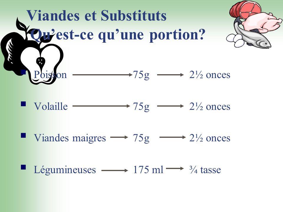 Viandes et Substituts Quest-ce quune portion? Poisson75g2½ onces Volaille 75g2½ onces Viandes maigres 75g2½ onces Légumineuses 175 ml ¾ tasse