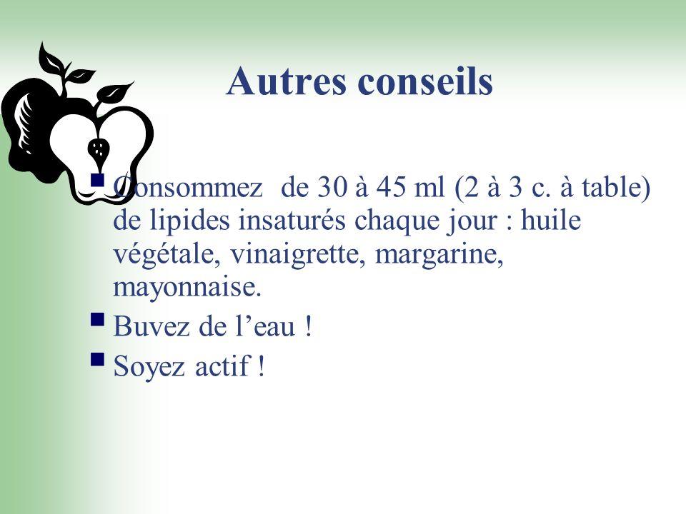 Autres conseils Consommez de 30 à 45 ml (2 à 3 c. à table) de lipides insaturés chaque jour : huile végétale, vinaigrette, margarine, mayonnaise. Buve