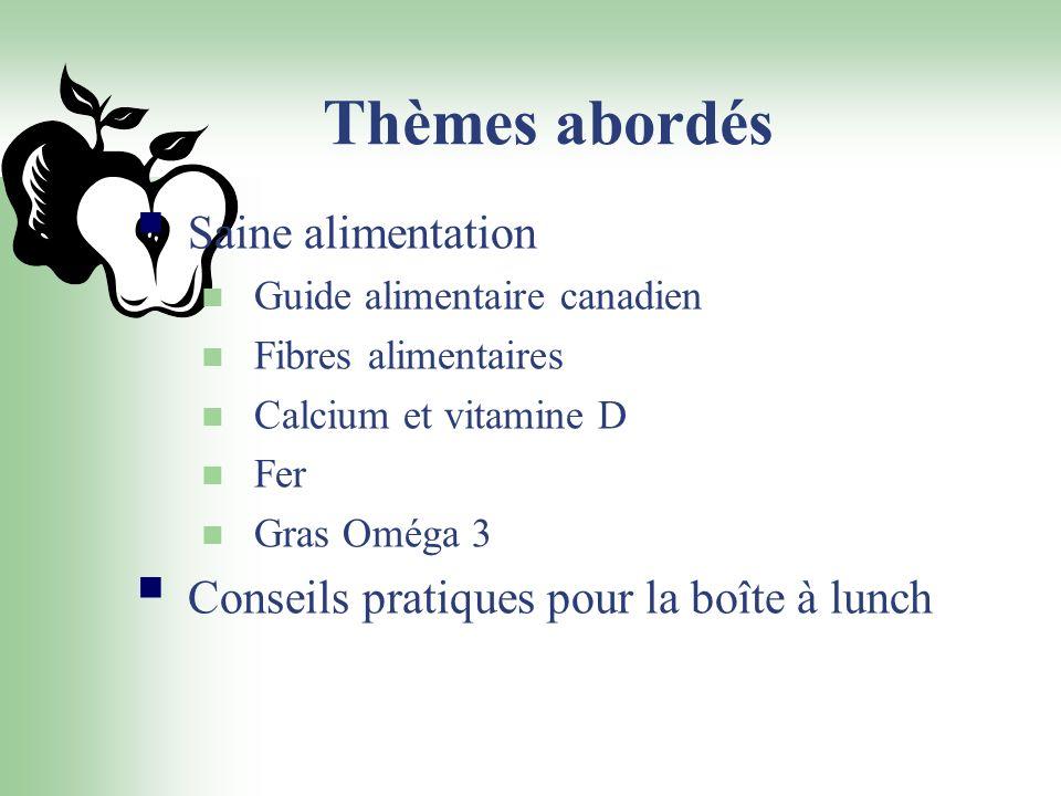 Thèmes abordés Saine alimentation Guide alimentaire canadien Fibres alimentaires Calcium et vitamine D Fer Gras Oméga 3 Conseils pratiques pour la boî