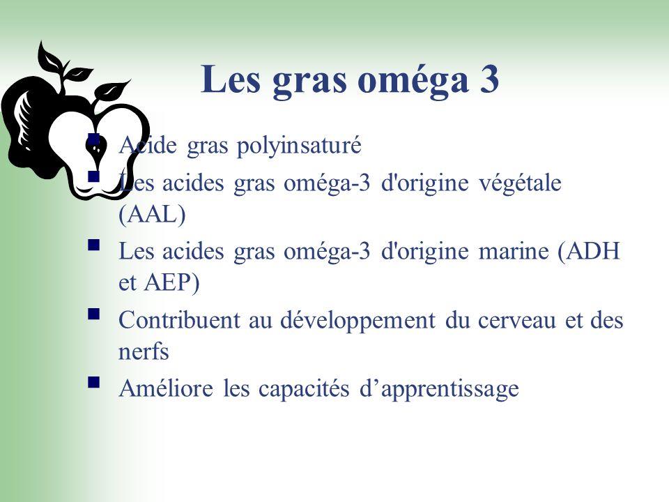 Les gras oméga 3 Acide gras polyinsaturé Les acides gras oméga-3 d'origine végétale (AAL) Les acides gras oméga-3 d'origine marine (ADH et AEP) Contri