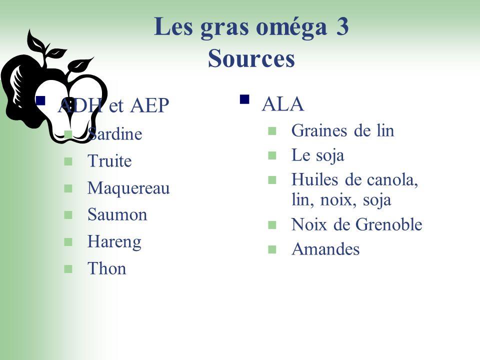 Les gras oméga 3 Sources ADH et AEP Sardine Truite Maquereau Saumon Hareng Thon ALA Graines de lin Le soja Huiles de canola, lin, noix, soja Noix de G