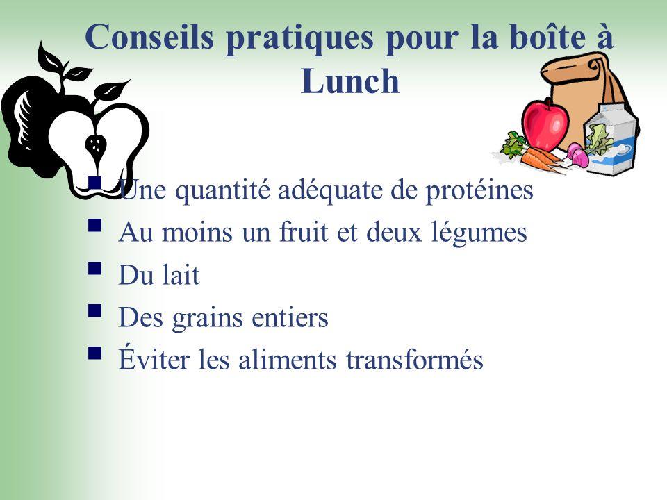 Conseils pratiques pour la boîte à Lunch Une quantité adéquate de protéines Au moins un fruit et deux légumes Du lait Des grains entiers Éviter les al