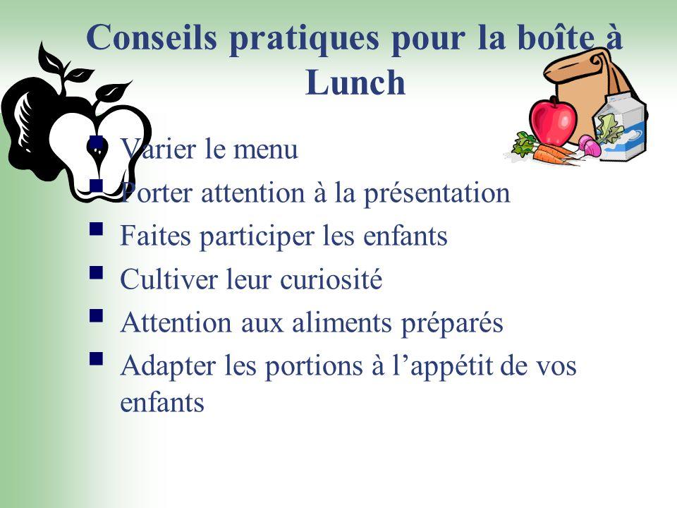 Conseils pratiques pour la boîte à Lunch Varier le menu Porter attention à la présentation Faites participer les enfants Cultiver leur curiosité Atten