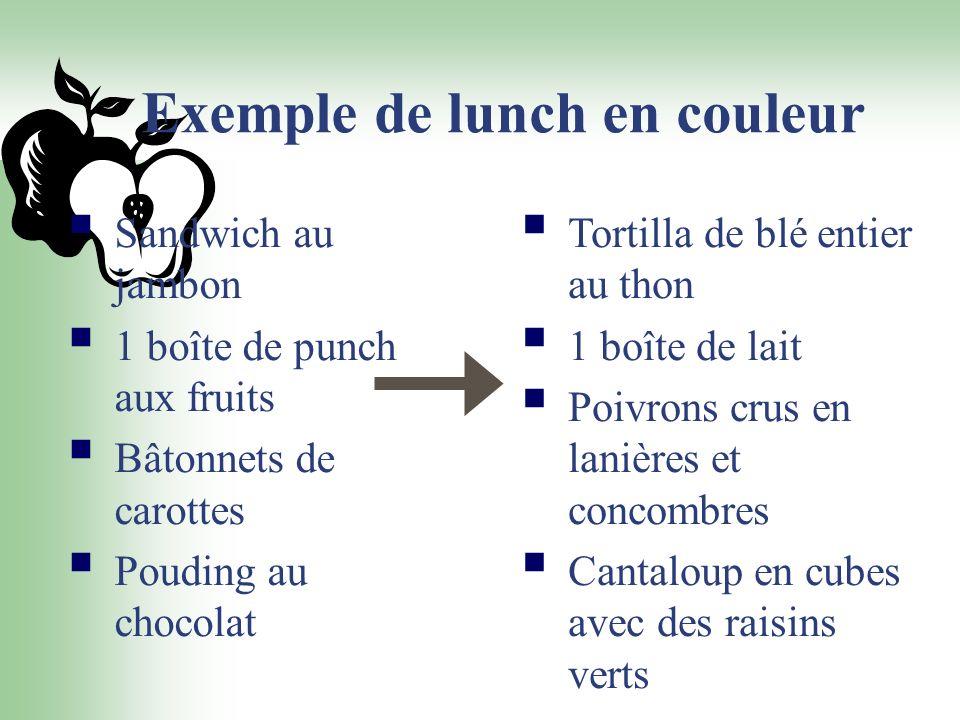Exemple de lunch en couleur Sandwich au jambon 1 boîte de punch aux fruits Bâtonnets de carottes Pouding au chocolat Tortilla de blé entier au thon 1
