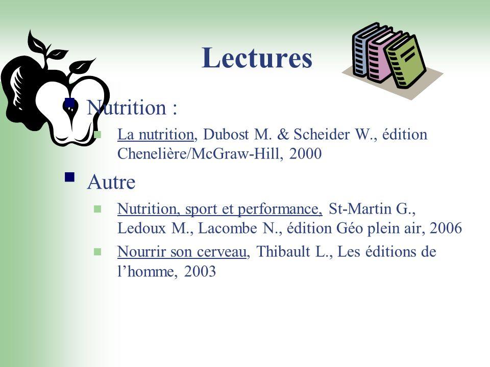 Lectures Nutrition : La nutrition, Dubost M. & Scheider W., édition Chenelière/McGraw-Hill, 2000 Autre Nutrition, sport et performance, St-Martin G.,