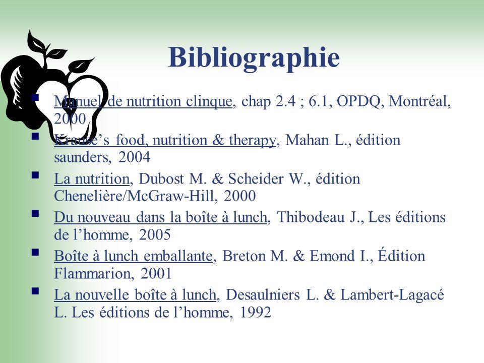 Bibliographie Manuel de nutrition clinque, chap 2.4 ; 6.1, OPDQ, Montréal, 2000 Krauses food, nutrition & therapy, Mahan L., édition saunders, 2004 La