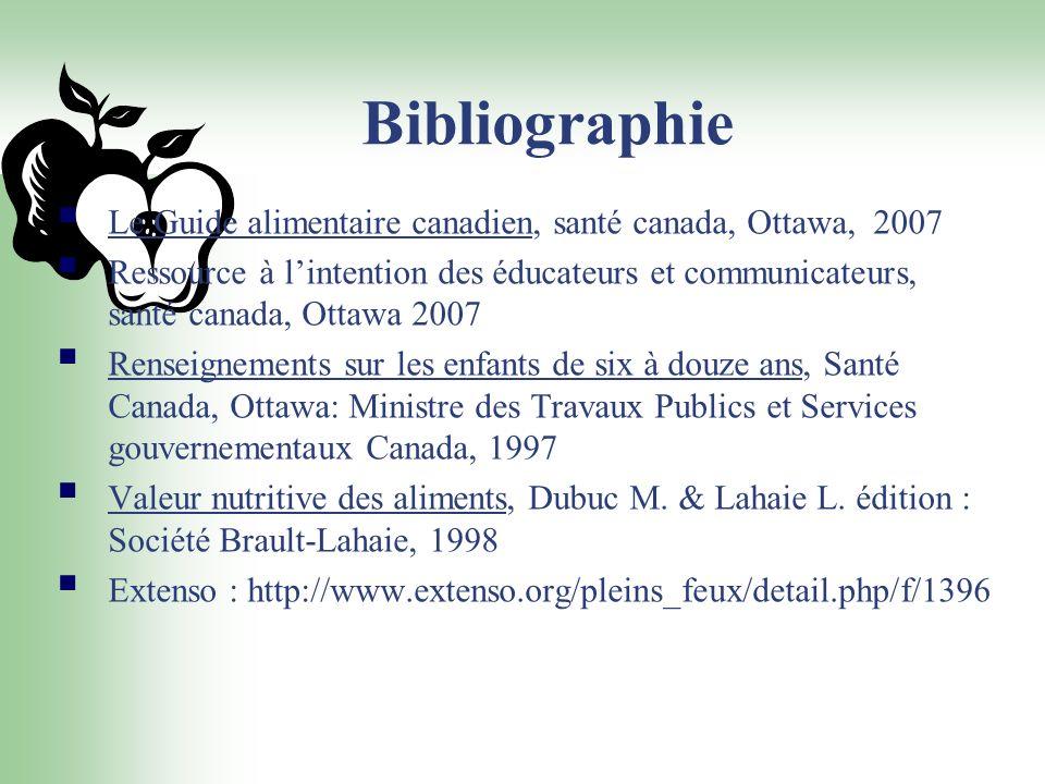 Bibliographie Le Guide alimentaire canadien, santé canada, Ottawa, 2007 Ressource à lintention des éducateurs et communicateurs, santé canada, Ottawa