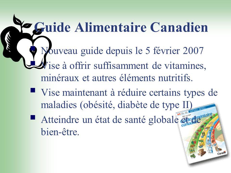 Guide Alimentaire Canadien Nouveau guide depuis le 5 février 2007 Vise à offrir suffisamment de vitamines, minéraux et autres éléments nutritifs. Vise