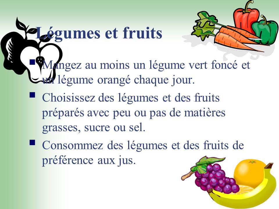 Légumes et fruits Mangez au moins un légume vert foncé et un légume orangé chaque jour. Choisissez des légumes et des fruits préparés avec peu ou pas