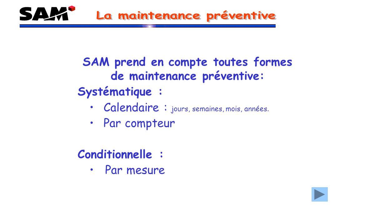 SAM prend en compte toutes formes de maintenance préventive: Systématique : Calendaire : jours, semaines, mois, années.