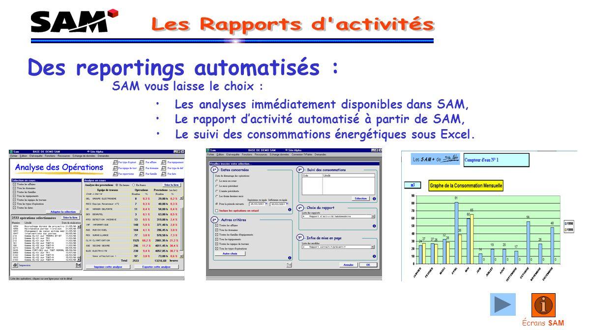 Des reportings automatisés : SAM vous laisse le choix : Les analyses immédiatement disponibles dans SAM, Le suivi des consommations énergétiques sous Excel.