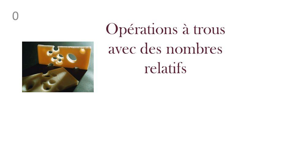 0 Opérations à trous avec des nombres relatifs