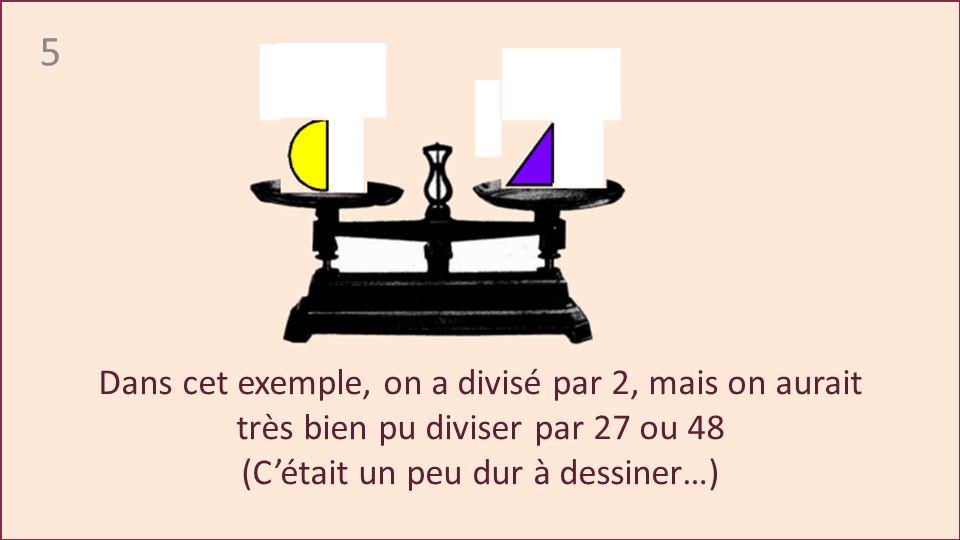 5 Dans cet exemple, on a divisé par 2, mais on aurait très bien pu diviser par 27 ou 48 (Cétait un peu dur à dessiner…)