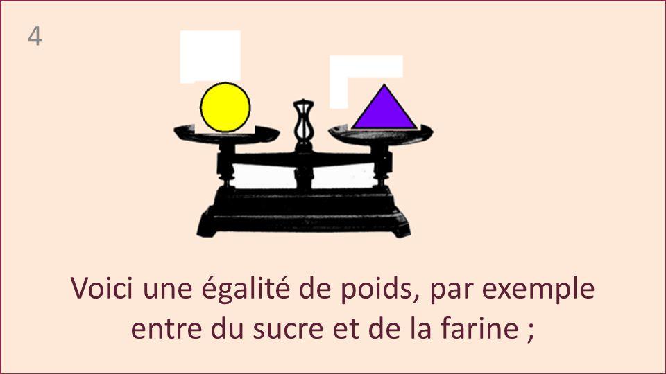 4 Voici une égalité de poids, par exemple entre du sucre et de la farine ;