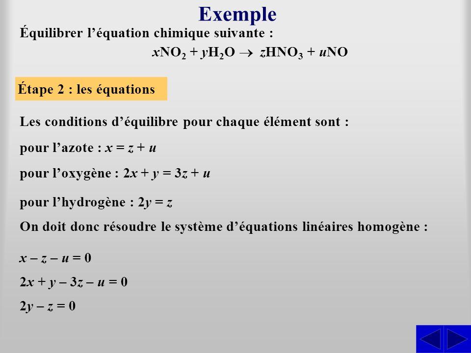 Exemple Les conditions déquilibre pour chaque élément sont : Étape 2 : les équations pour lazote : x = z + u pour loxygène : 2x + y = 3z + u pour lhyd