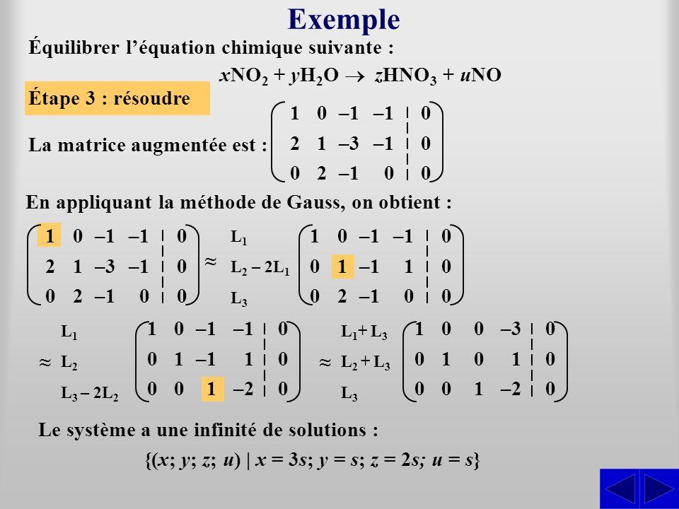 xNO 2 + yH 2 O zHNO 3 + uNO La matrice augmentée est : Étape 3 : résoudre En appliquant la méthode de Gauss, on obtient : Exemple Le système a une inf