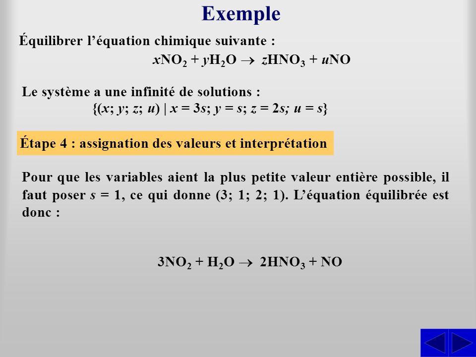 Étape 4 : assignation des valeurs et interprétation Exemple Le système a une infinité de solutions : {(x; y; z; u) | x = 3s; y = s; z = 2s; u = s} Pou