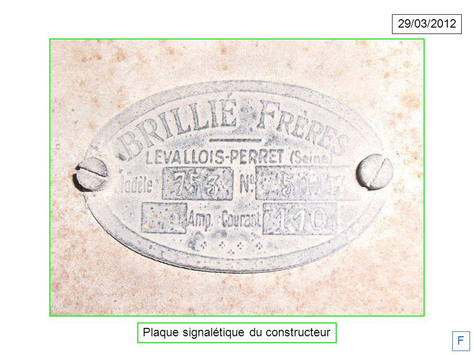 29/03/2012 F Plaque signalétique du constructeur