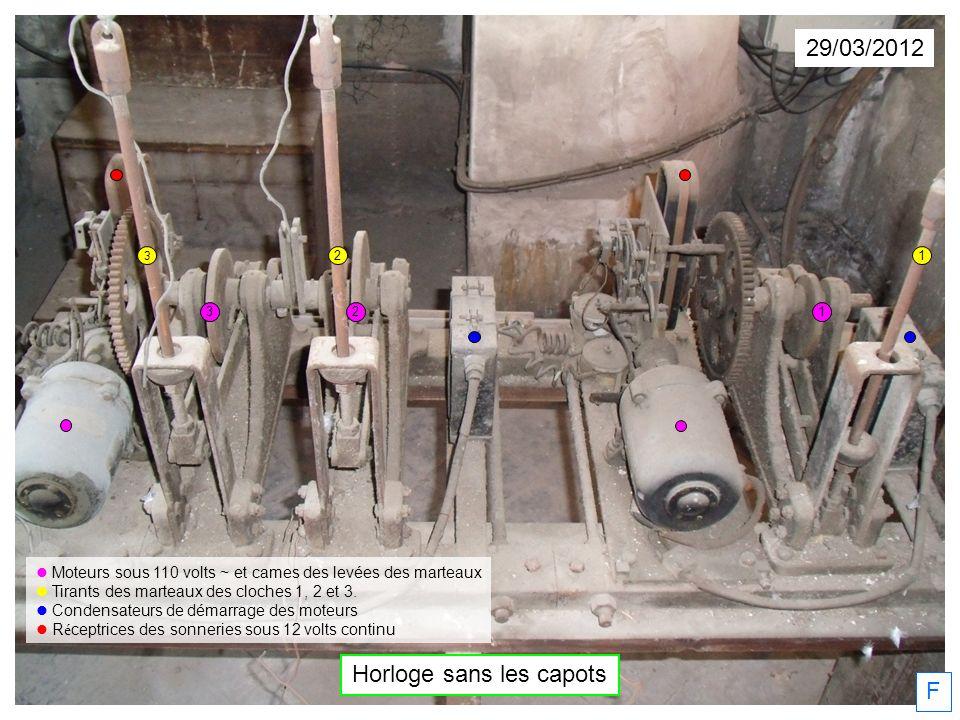29/03/2012 F Horloge sans les capots Moteurs sous 110 volts ~ et cames des levées des marteaux Tirants des marteaux des cloches 1, 2 et 3.