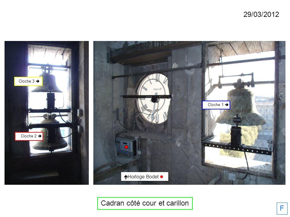 29/03/2012 F Horloge Bodet Cloche 2 Cloche 1 Cloche 3 Cadran côté cour et carillon