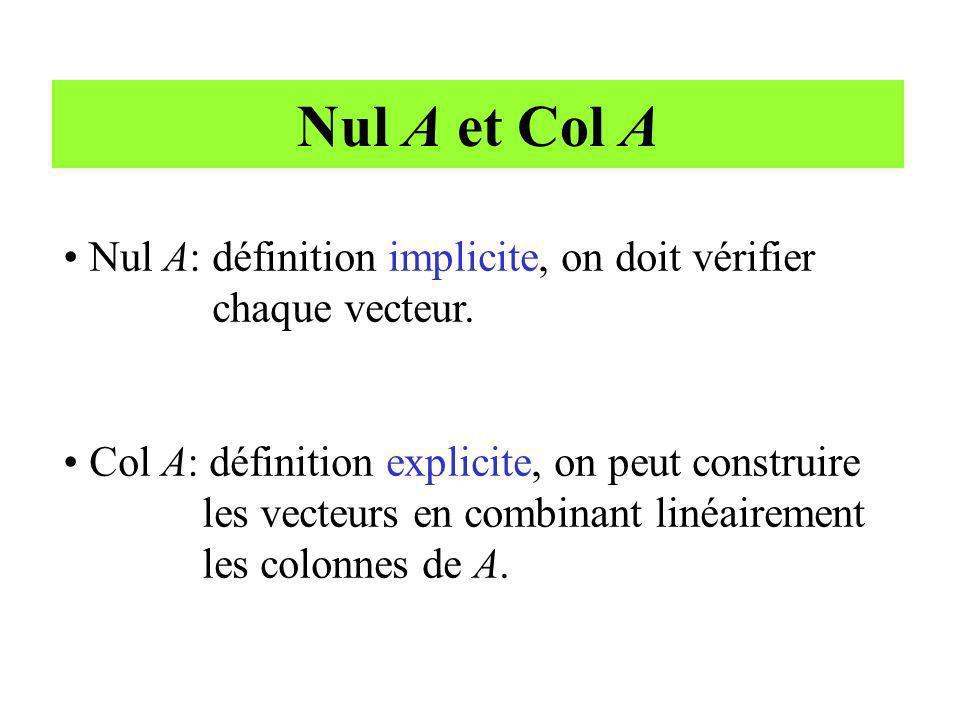 Nul A et Col A Nul A: définition implicite, on doit vérifier chaque vecteur. Col A: définition explicite, on peut construire les vecteurs en combinant