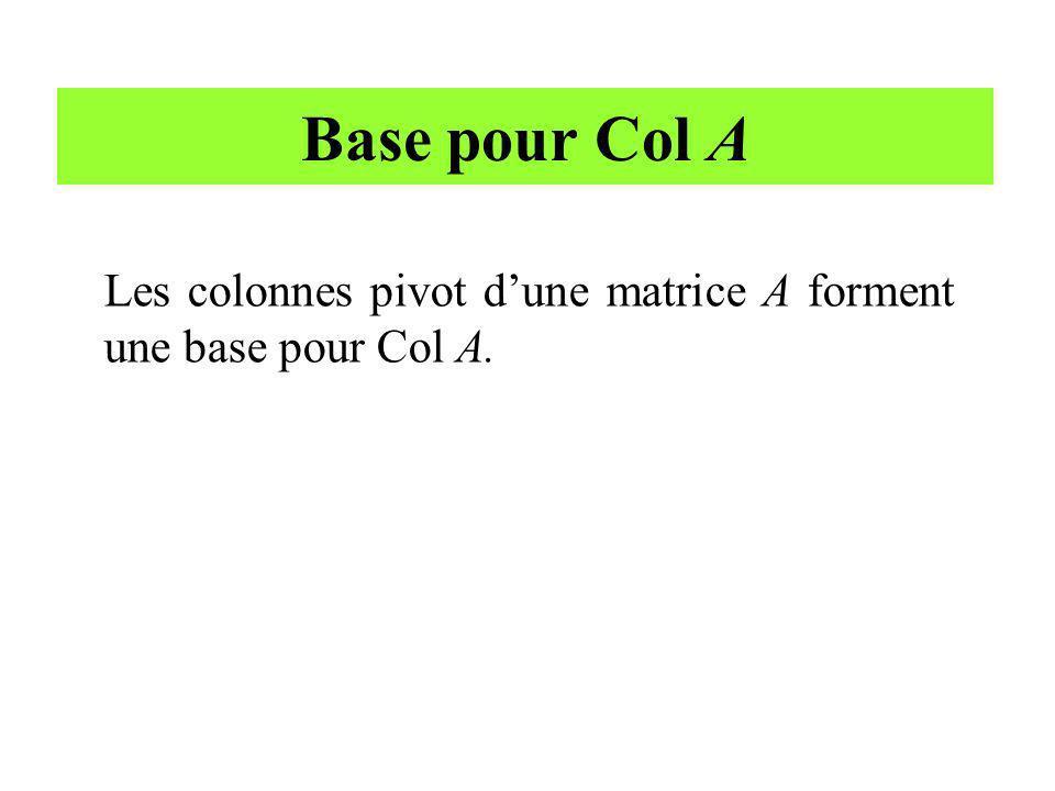 Base pour Col A Les colonnes pivot dune matrice A forment une base pour Col A.
