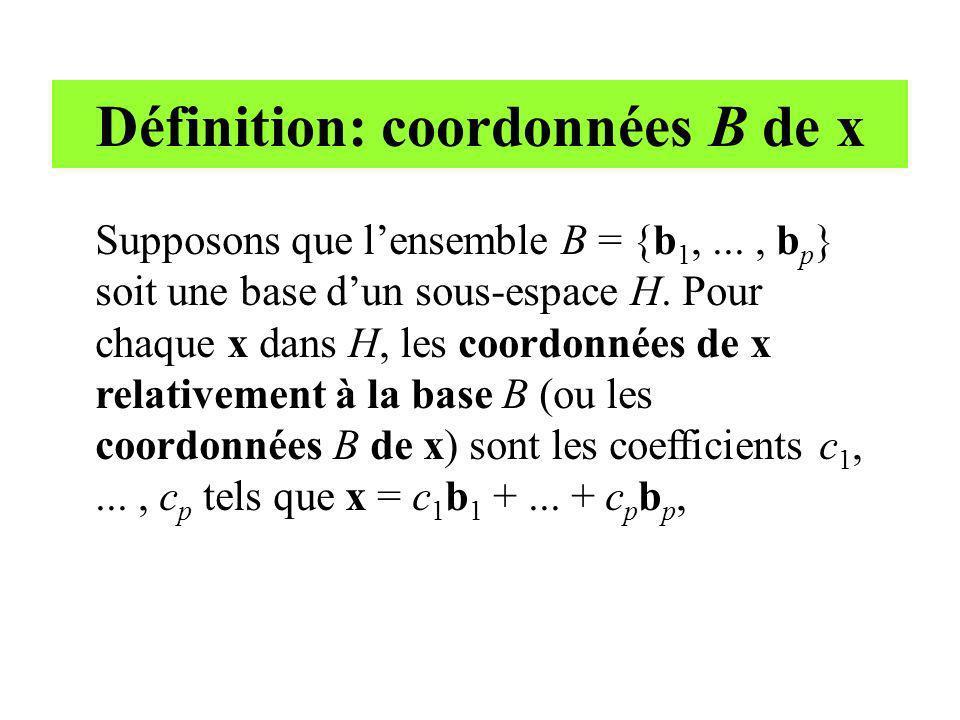 Définition: coordonnées B de x Supposons que lensemble B = {b 1,..., b p } soit une base dun sous-espace H. Pour chaque x dans H, les coordonnées de x