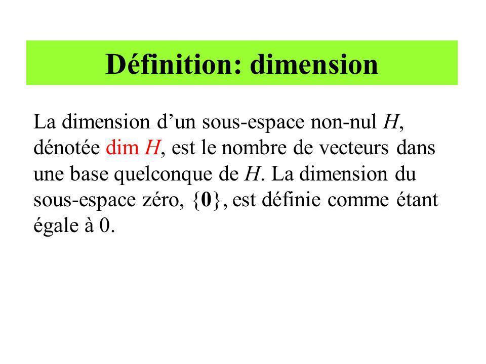Définition: dimension La dimension dun sous-espace non-nul H, dénotée dim H, est le nombre de vecteurs dans une base quelconque de H. La dimension du