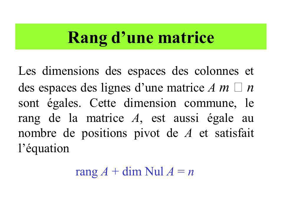 Rang dune matrice Les dimensions des espaces des colonnes et des espaces des lignes dune matrice A m n sont égales. Cette dimension commune, le rang d