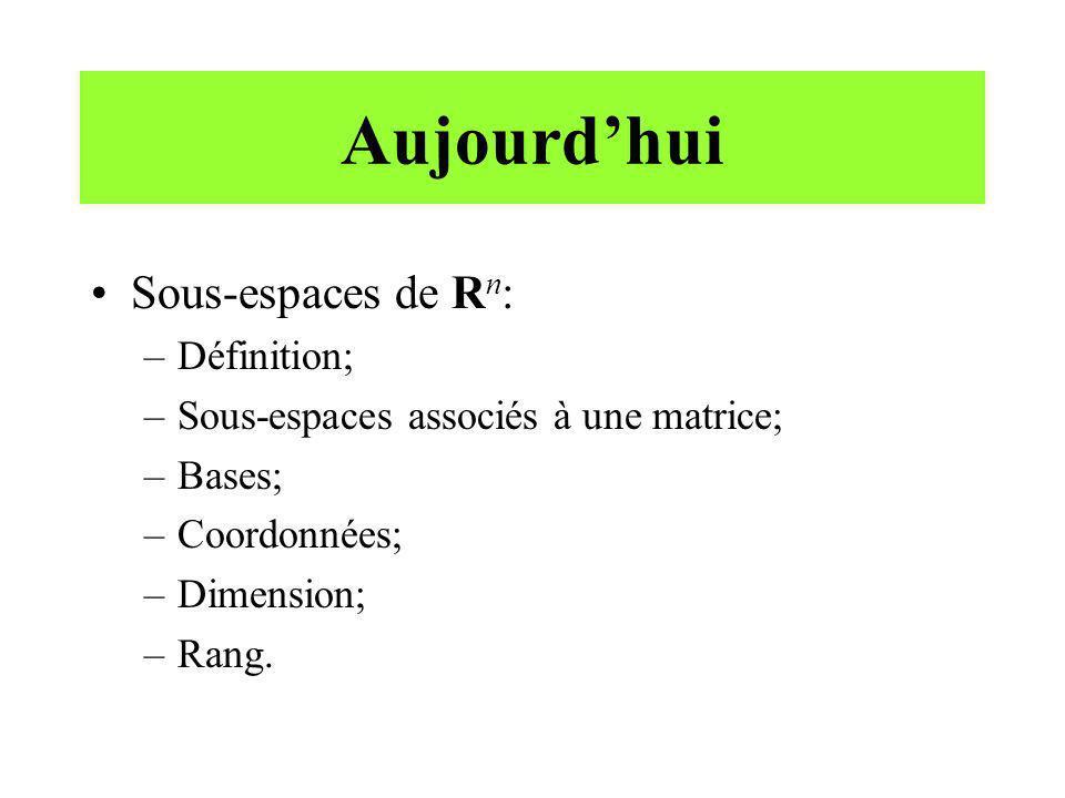 Aujourdhui Sous-espaces de R n : –Définition; –Sous-espaces associés à une matrice; –Bases; –Coordonnées; –Dimension; –Rang.