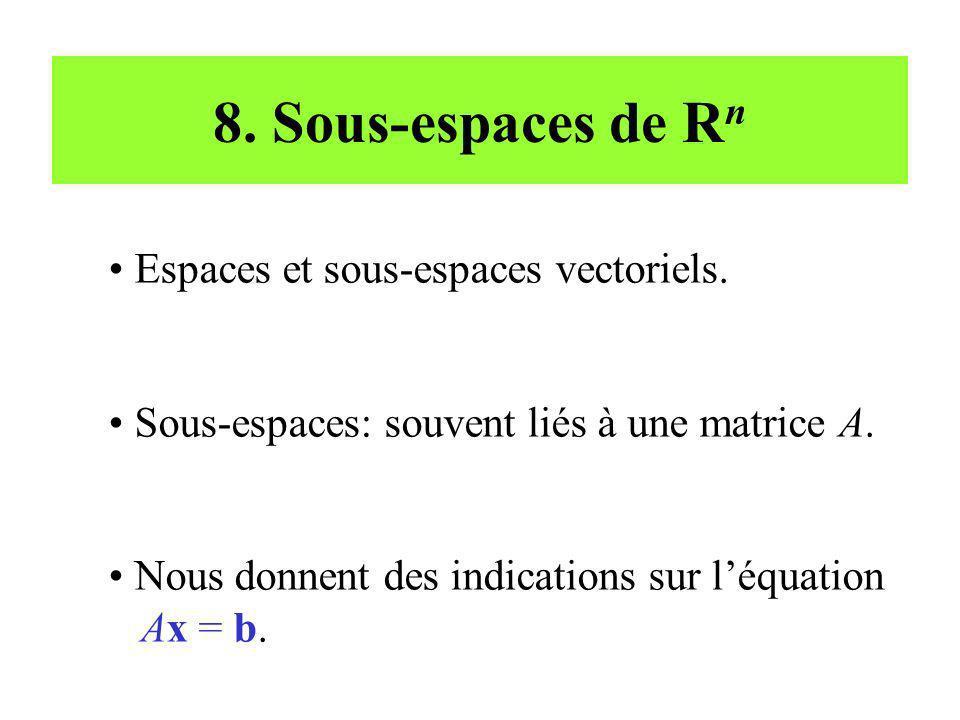 8. Sous-espaces de R n Espaces et sous-espaces vectoriels. Sous-espaces: souvent liés à une matrice A. Nous donnent des indications sur léquation Ax =