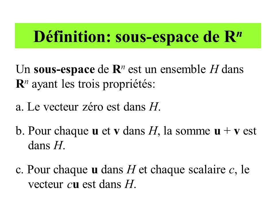 Définition: sous-espace de R n Un sous-espace de R n est un ensemble H dans R n ayant les trois propriétés: a. Le vecteur zéro est dans H. b. Pour cha