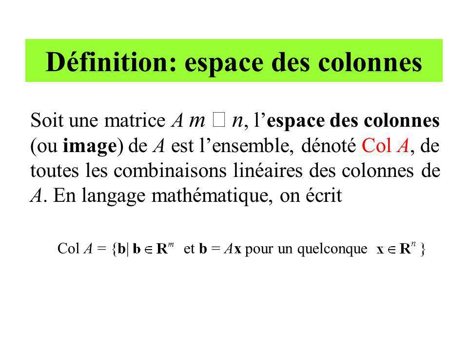 Soit une matrice A m n, lespace des colonnes (ou image) de A est lensemble, dénoté Col A, de toutes les combinaisons linéaires des colonnes de A. En l