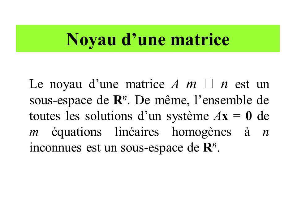 Noyau dune matrice Le noyau dune matrice A m n est un sous-espace de R n. De même, lensemble de toutes les solutions dun système Ax = 0 de m équations