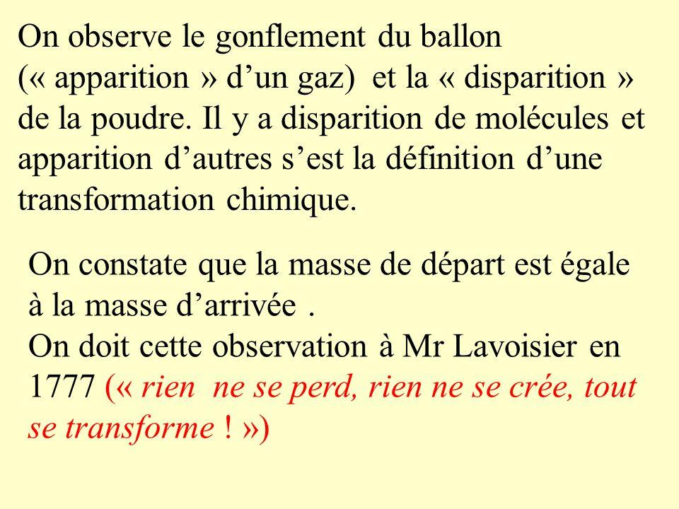 III) La conservation de la matière 1) expérience