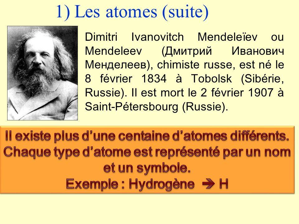 II) Description de la matière 1) Les atomes La matière est composé datomes. Chaque atome est représenté par un symbole (une ou deux lettres).Tous les