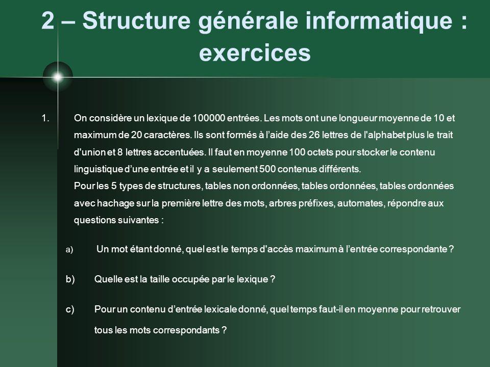 2 – Structure générale informatique : exercices 1.On considère un lexique de 100000 entrées. Les mots ont une longueur moyenne de 10 et maximum de 20