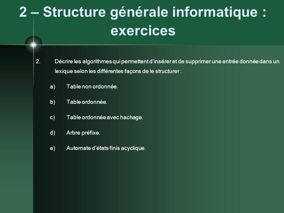 2 – Structure générale informatique : exercices 2.Décrire les algorithmes qui permettent dinsérer et de supprimer une entrée donnée dans un lexique se