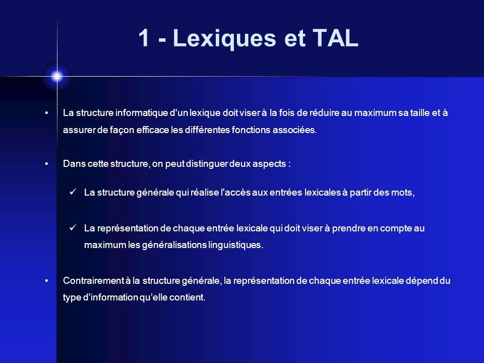1 - Lexiques et TAL La structure informatique d'un lexique doit viser à la fois de réduire au maximum sa taille et à assurer de façon efficace les dif