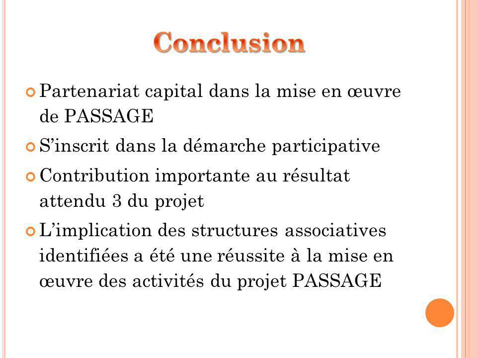 Partenariat capital dans la mise en œuvre de PASSAGE Sinscrit dans la démarche participative Contribution importante au résultat attendu 3 du projet Limplication des structures associatives identifiées a été une réussite à la mise en œuvre des activités du projet PASSAGE