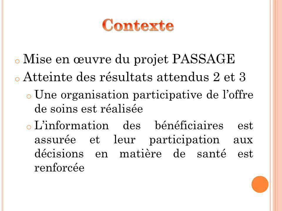 o Mise en œuvre du projet PASSAGE o Atteinte des résultats attendus 2 et 3 o Une organisation participative de loffre de soins est réalisée o Linforma